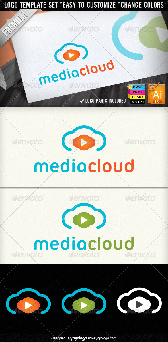 Music & Video Play Media Cloud Logo Designs - Symbols Logo Templates