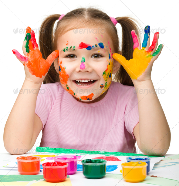 Portrait of a cute girl with painted hands - Stock Photo - Images