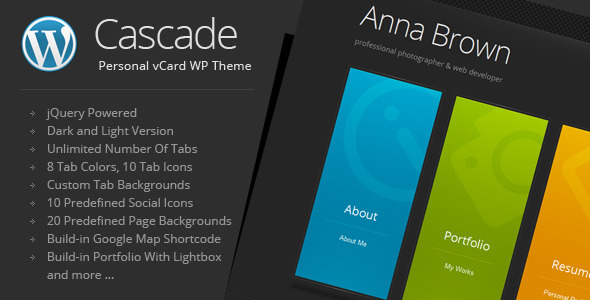 ThemeForest Cascade Personal vCard WordPress Theme 1763945