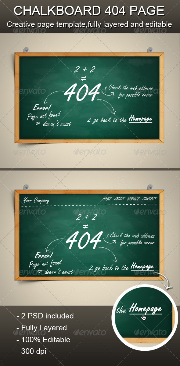 Chalkboard 404 Error Page - 404 Pages Web Elements