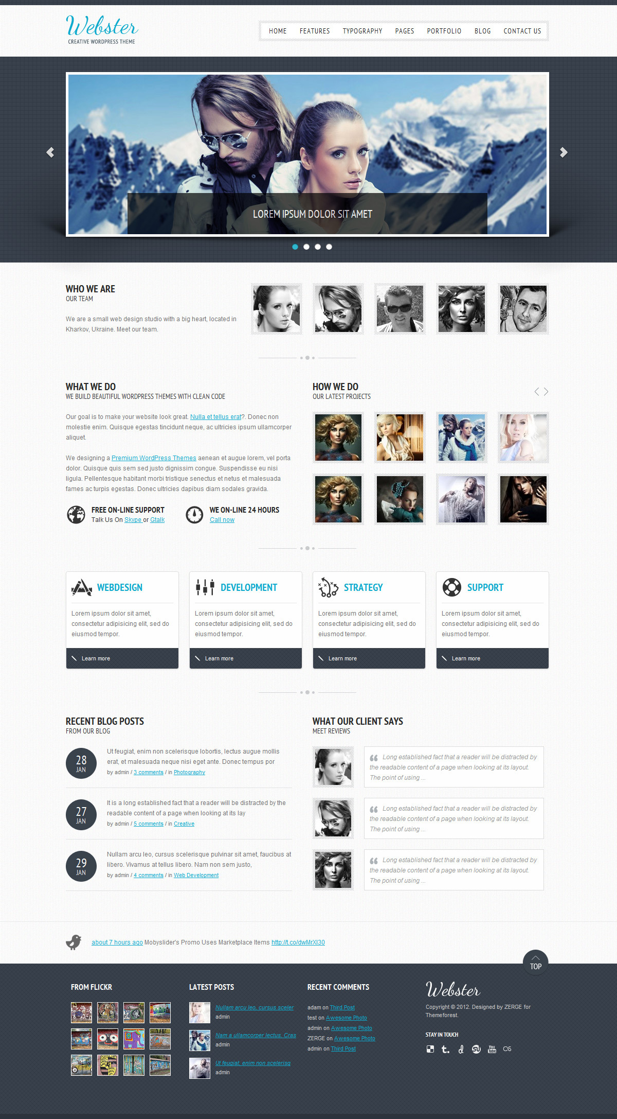 Webster - Creative WordPress Theme - Home Page