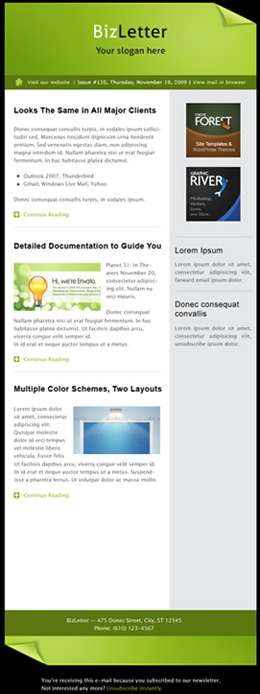 BizLetter - E-mail Template - 5 colors - resized image that shows a complete view of a sample email newsletter