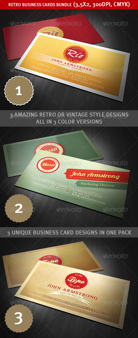 Retro Business Cards Bundle - Creative Business Cards
