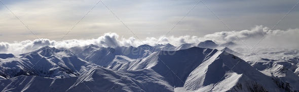 Panorama of evening mountains - Stock Photo - Images
