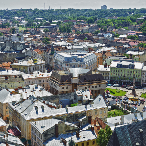 Lviv Aerial View - Stock Photo - Images