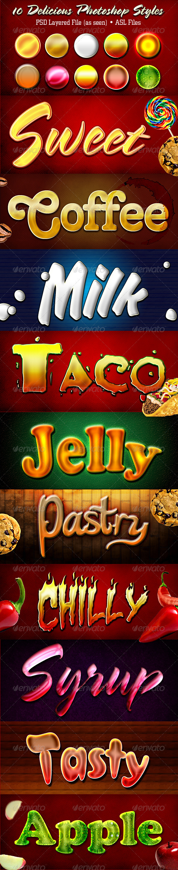 GraphicRiver Delicious Photoshop Styles 1859007