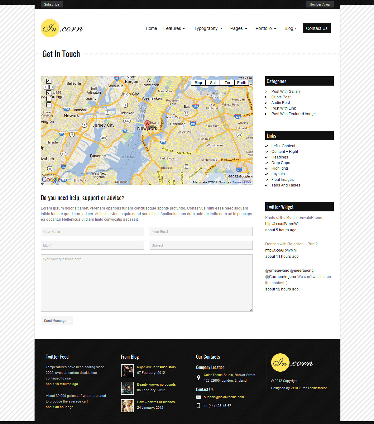 Incorn - Portfolio HTML Template - Contacts Page