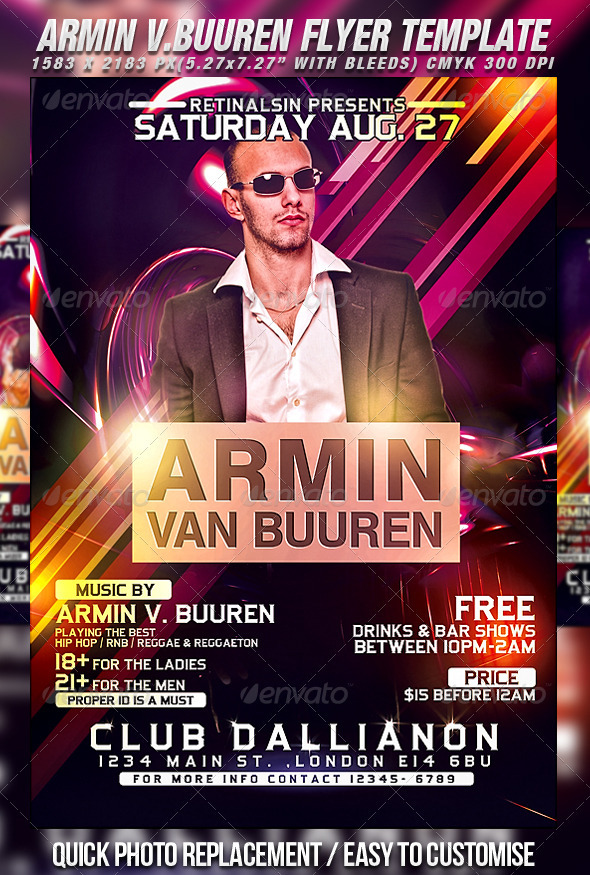 Armin Flyer Template - Clubs & Parties Events