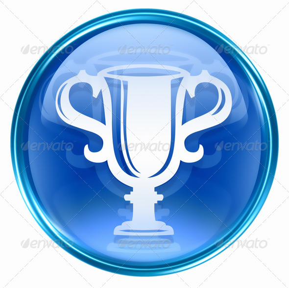 Cup icon blue, isolated on white background. - Stock Photo - Images