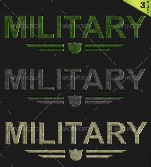 3 Military / Camouflage Styles - Text Effects Styles