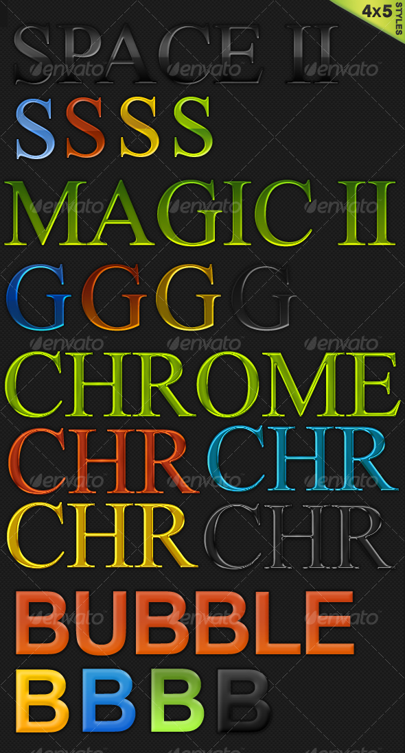 4x5 Color Styles (Space, Chrome...) - Text Effects Styles