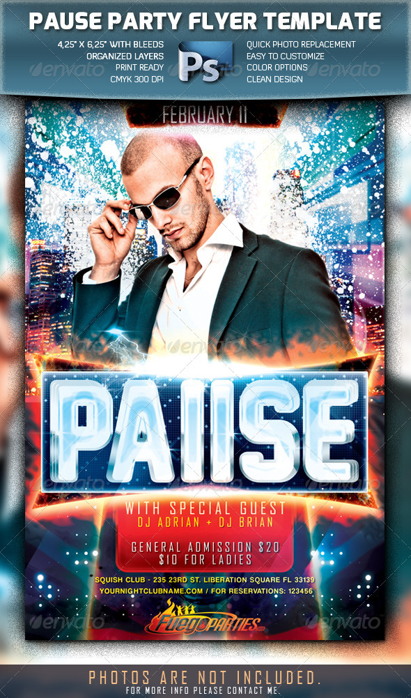 Pause Party Flyer - Clubs & Parties Events