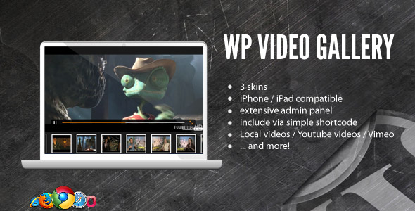 VIDEO GALLERY skins iPhone iPad compatible extensive admin panel Include via simple shortcode Local Youtube and more!
