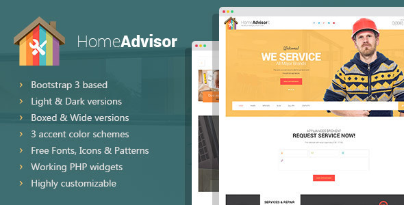 Home advisor  Appliance Repair HTML template by mwtemplates