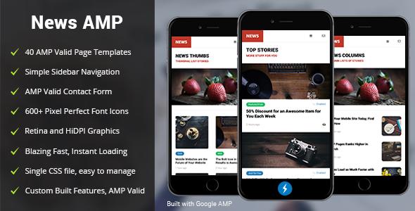 amp news mobile google amp mobile template by enabled themeforest. Black Bedroom Furniture Sets. Home Design Ideas