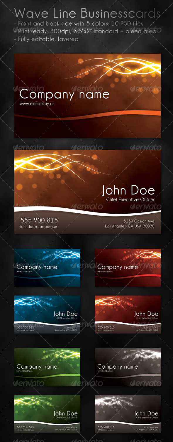 Wave Line Business Cards - Creative Business Cards