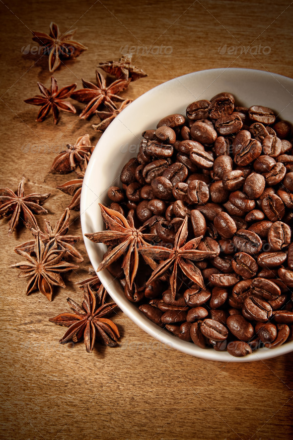 Bowl of coffee beans and spice - Stock Photo - Images