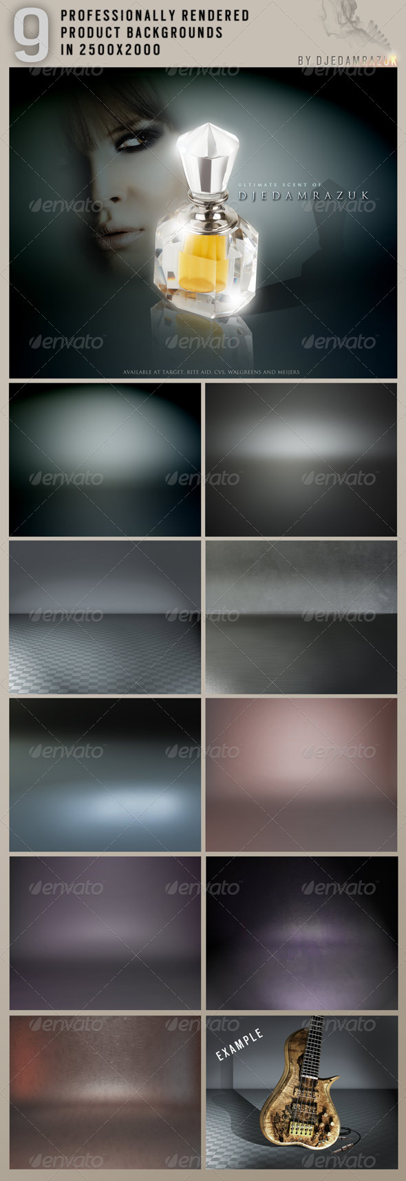 9 Rendered Backdrop Scenes in 2500x2000 - Miscellaneous Backgrounds