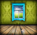 green room with window with field and sky above it - PhotoDune Item for Sale