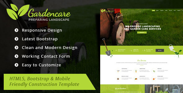Garden Care Gardening and Landscaping Bootstrap Template by