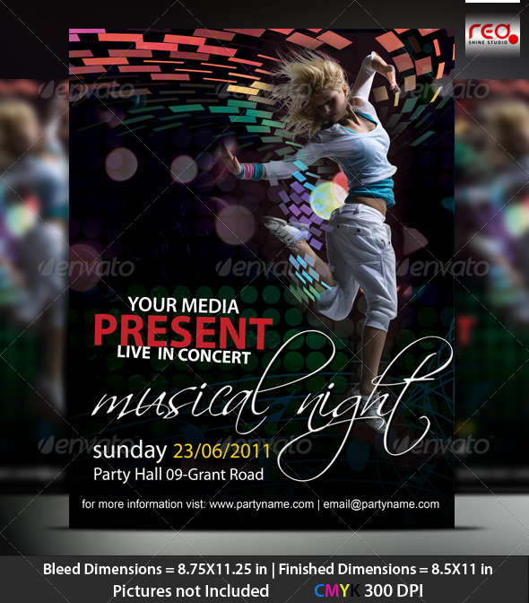 GraphicRiver Music Night Party Poster Flyer Template 222820