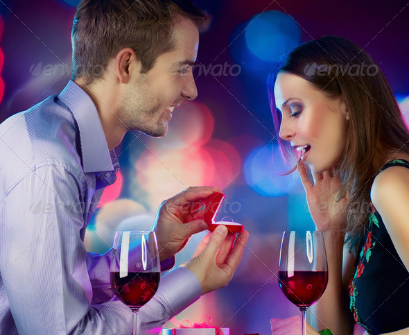 Valentine's Day. Marriage Proposal - Stock Photo - Images