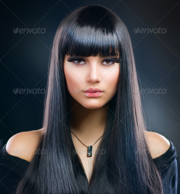 Beautiful Brunette Girl. Healthy Long Hair - Stock Photo - Images