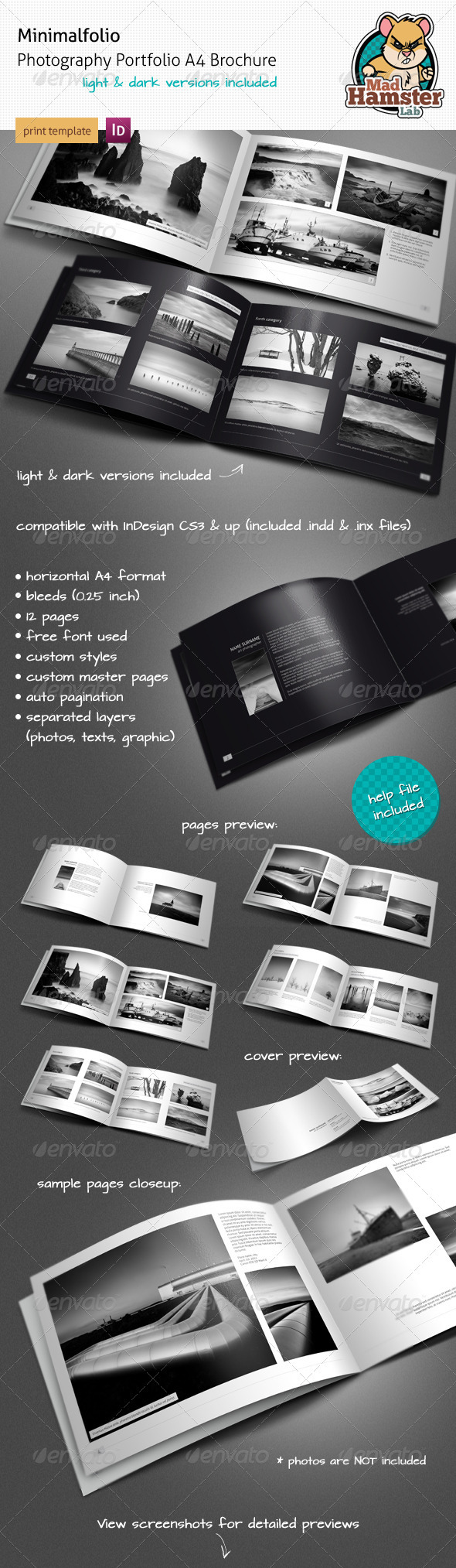 GraphicRiver Minimalfolio Photography Portfolio A4 Brochure 1664392