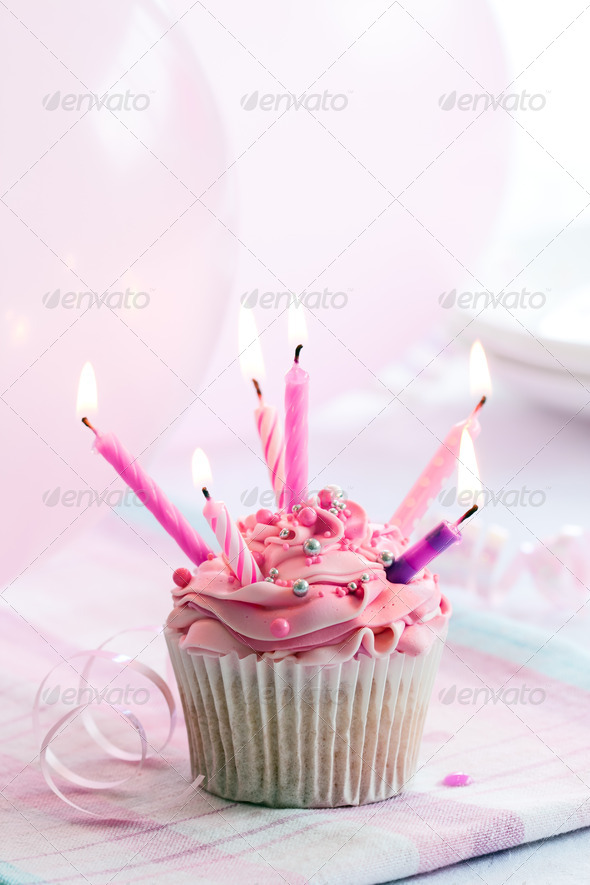 Birthday cupcake - Stock Photo - Images