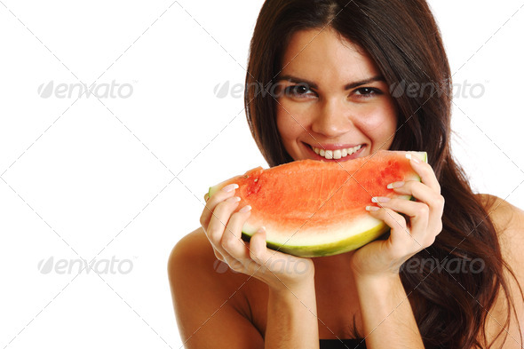 eat watermelon - Stock Photo - Images