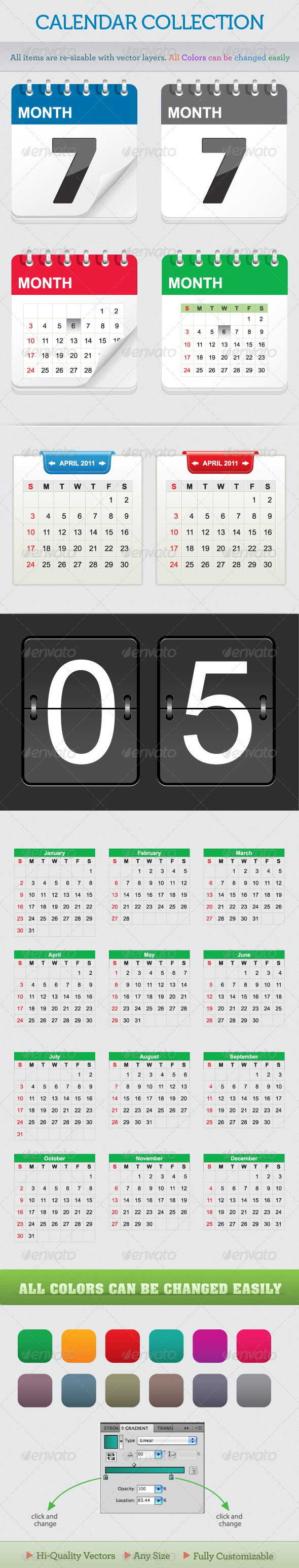 Calendar Collection - Web Elements Vectors