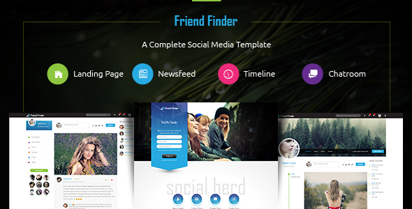 Friend finder social network html5 template by thunder for Social networking sites templates php