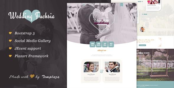 Wedding Fuchsia WordPress Wedding Theme by plazart ThemeForest