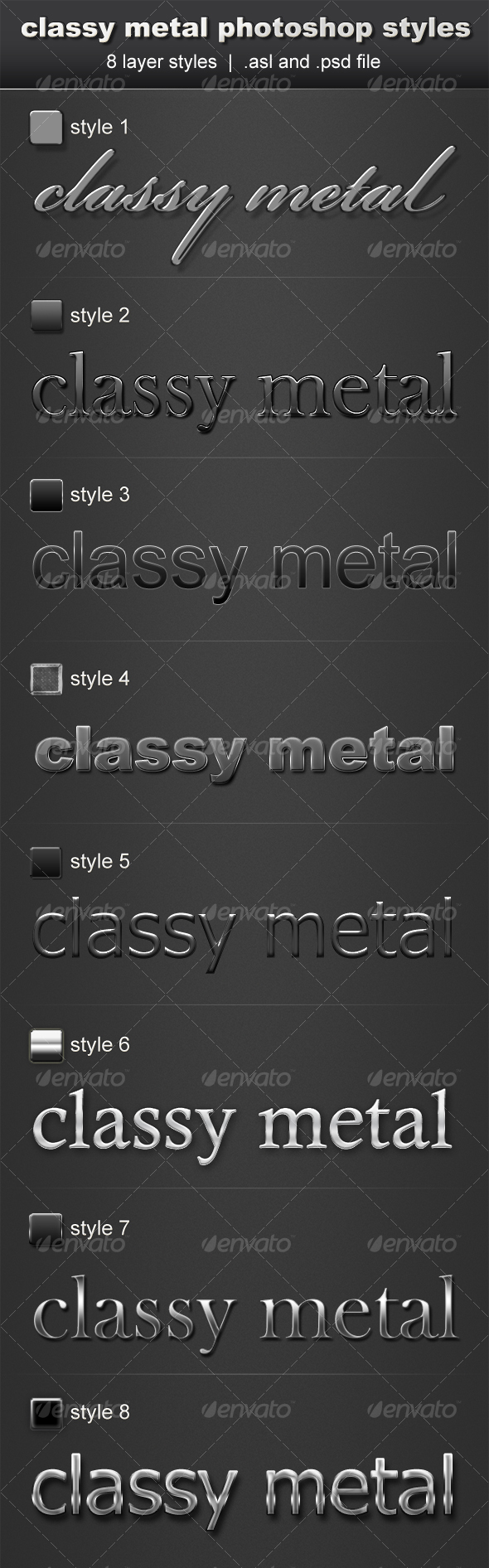 GraphicRiver Classy Metal Layerstyle Pack 8 Layerstyles 74037