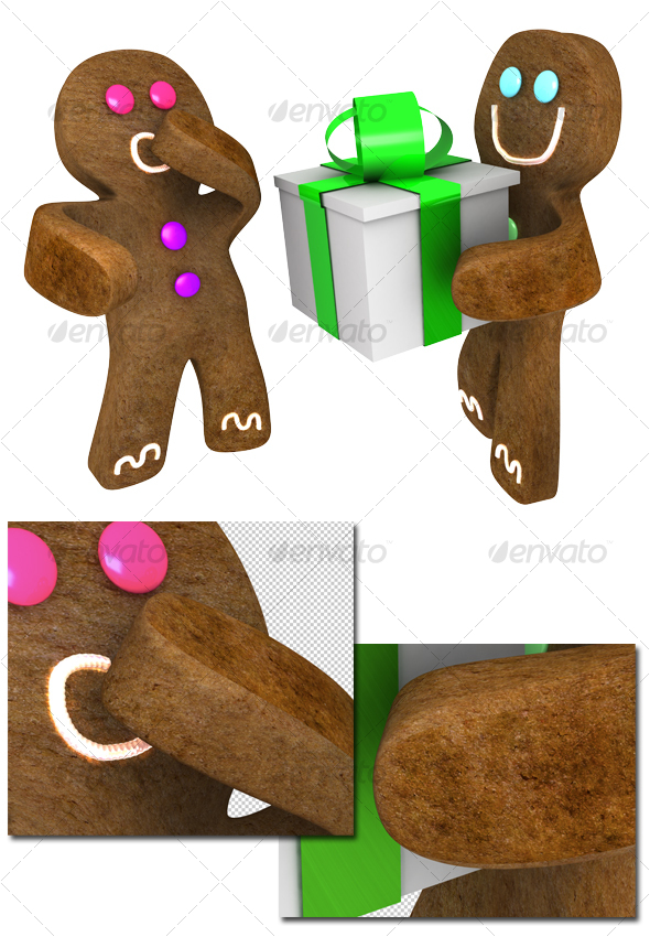 GraphicRiver Gingerbread man giving present to friend 72756