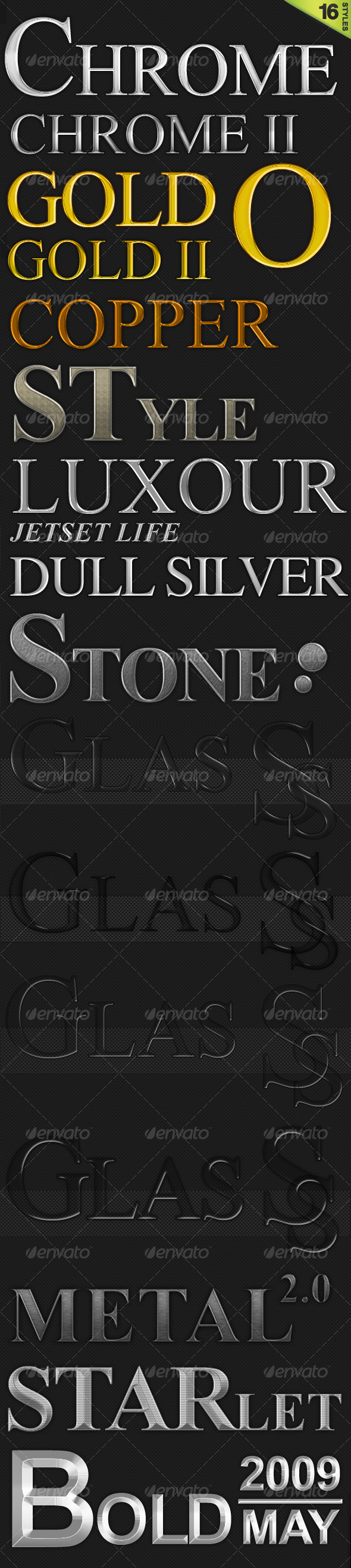 16 Quality Styles (Gold, Chrome, Glass and more) - Text Effects Styles