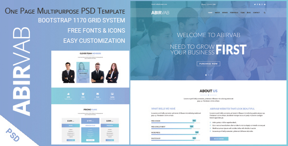 abirvab one page multipurpose psd template by ambidextrousbd themeforest. Black Bedroom Furniture Sets. Home Design Ideas