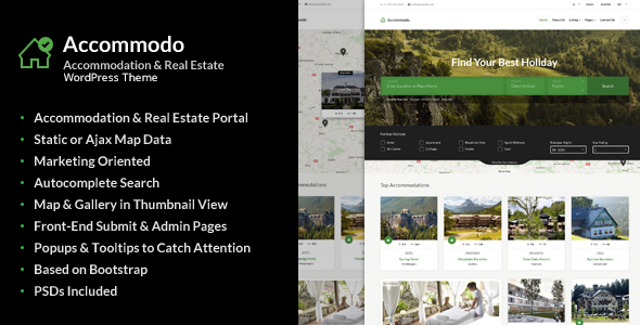 Accommodo – Accommodation Travel WordPress Theme