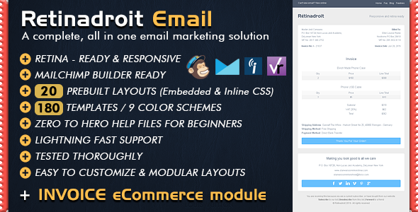 responsive email template & invoice template - mailchimp email, Invoice examples