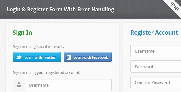 CodeCanyon Login & Register Form With Error Handling 1921703
