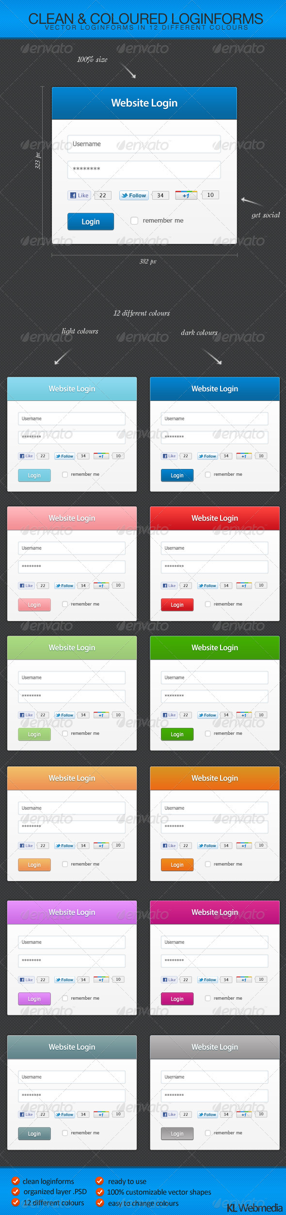Clean and coloured loginforms - Forms Web Elements