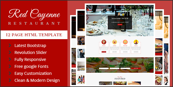 RedCayenne – Cafe & Restaurant HTML Template