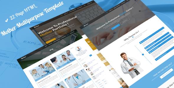 Mother MultiPurpose   Hospital,Construction,Portfolio,Dental & Medical Bootstrap Template