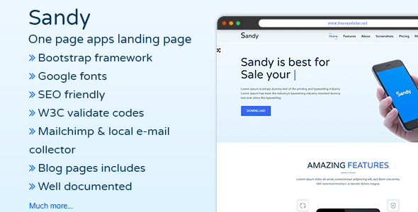 SANDY – One Page Apps Landing Page