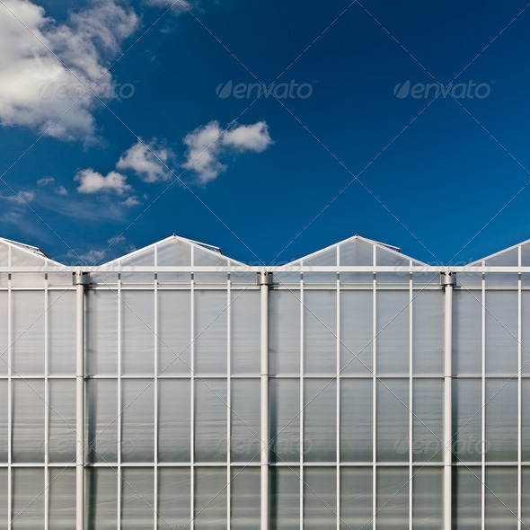 Front view of a dutch glass greenhouse - Stock Photo - Images