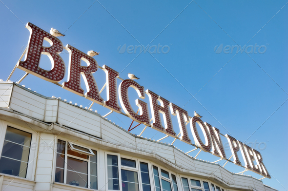 Brighton Pier Sign - Stock Photo - Images