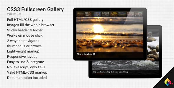 CodeCanyon CSS3 Fullscreen Gallery 1253586