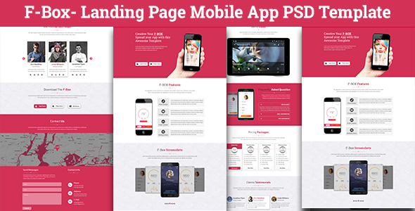 F box landing page mobile app psd template by codetroopers for If page template wordpress