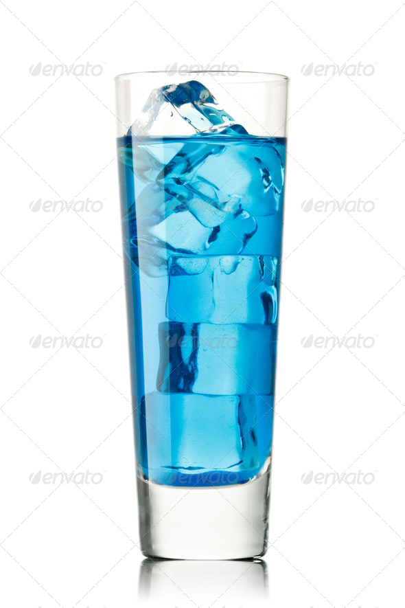 Blue Curacao cocktail with lime on white background - Stock Photo - Images