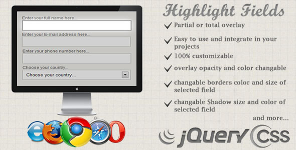 JQ-HighLight Fields, Highlight Your Forms' Fields - CodeCanyon Item for Sale